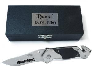 Taschenmesser, Multifunktionsmesser mit Gravur nach Wunsch (im Holzetui)